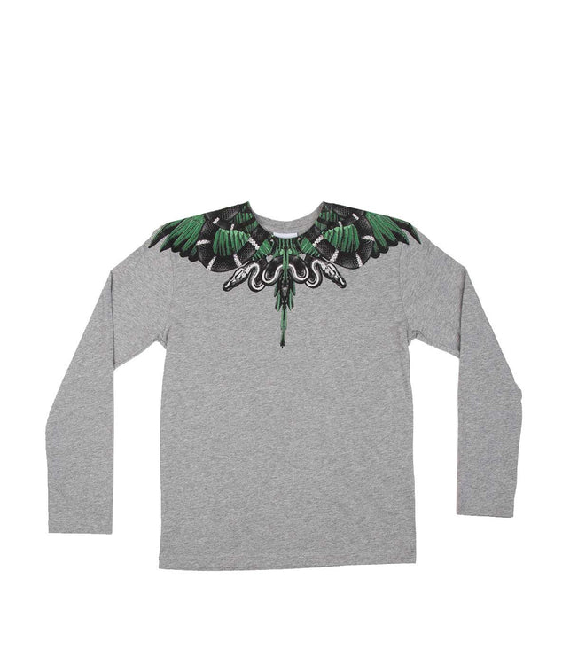 Grey Snakes & Wings Long Sleeve T-shirt