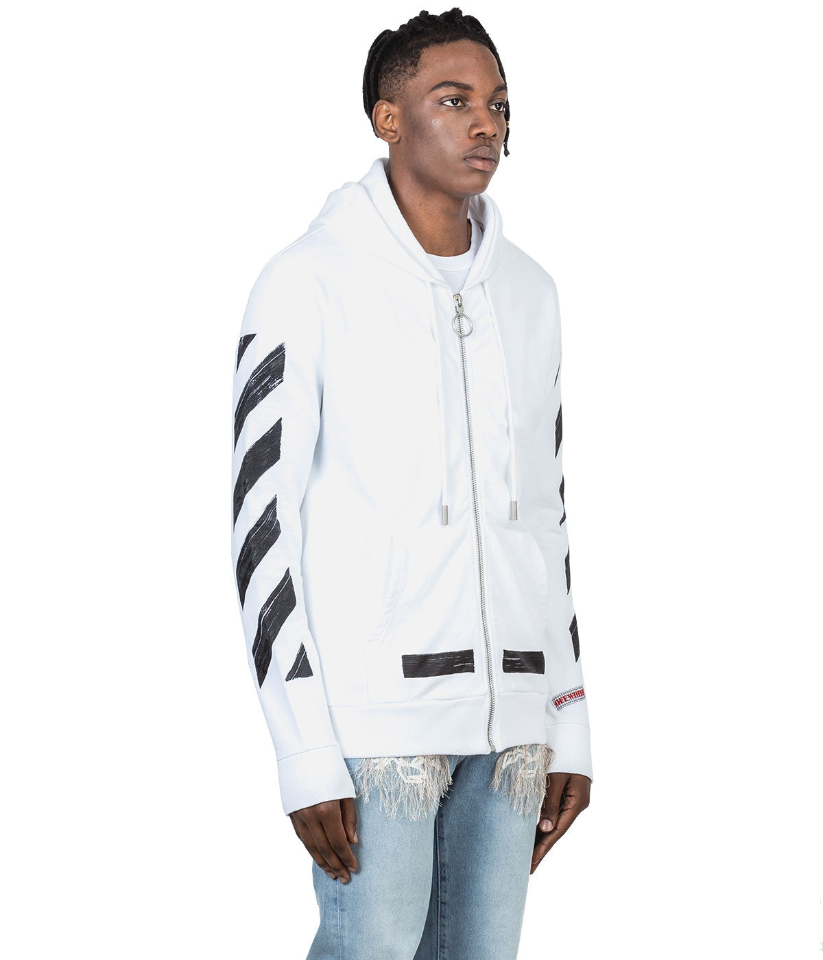 White Brushed Stripes Hoodie