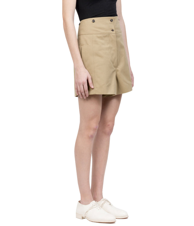 Beige High Waist Shorts