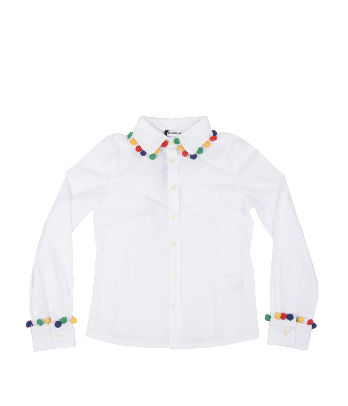 Pom Pom Trimmed White Shirt