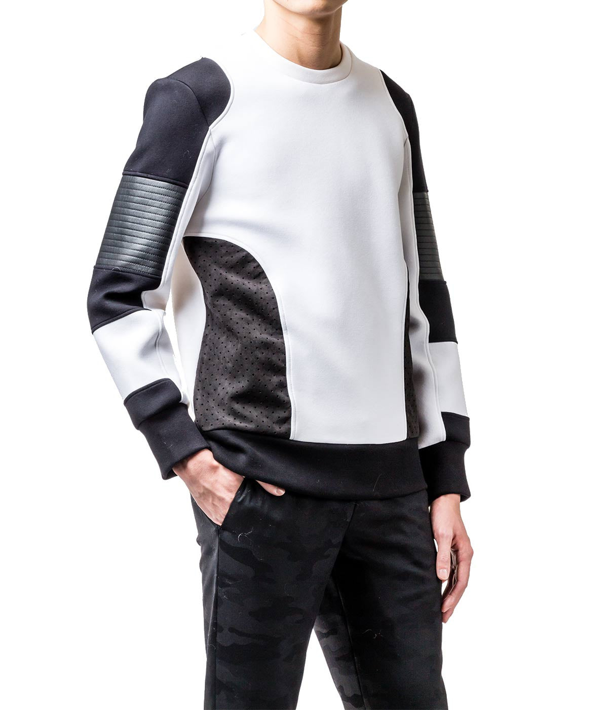Leather Mix Moto Sweatshirt