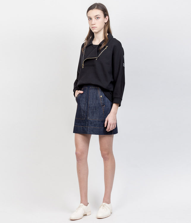 Navy Denim Skirt