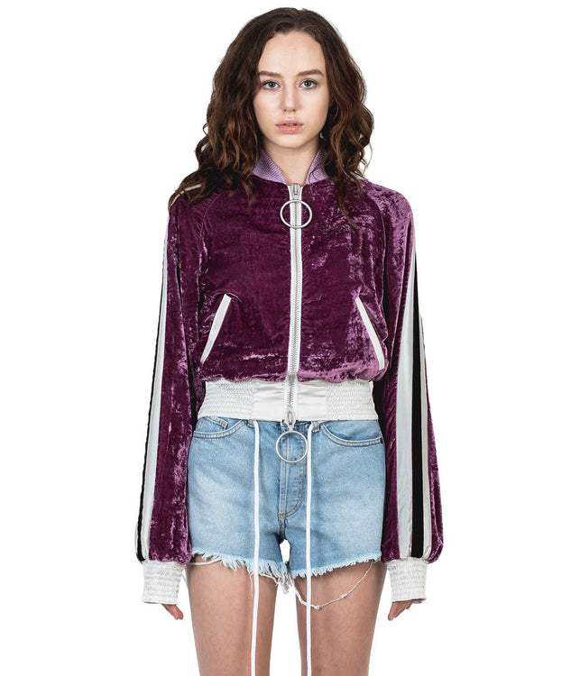 Purple Velvet Bomber Jacket