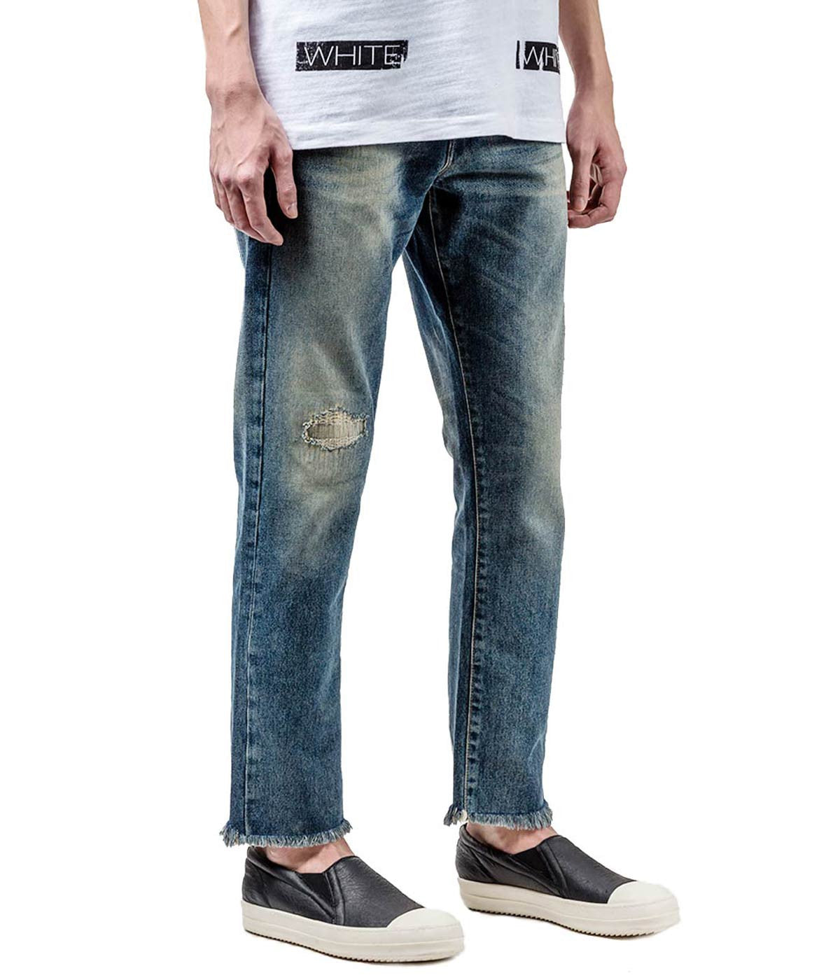 Straight Fit Distressed Denim Jeans