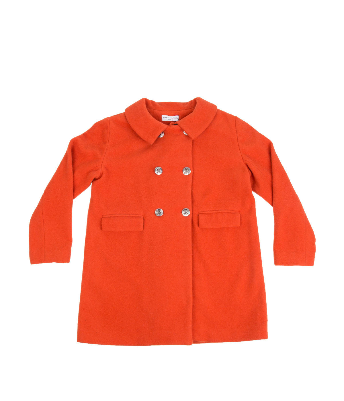 Orange Double-Breasted Wool Coat