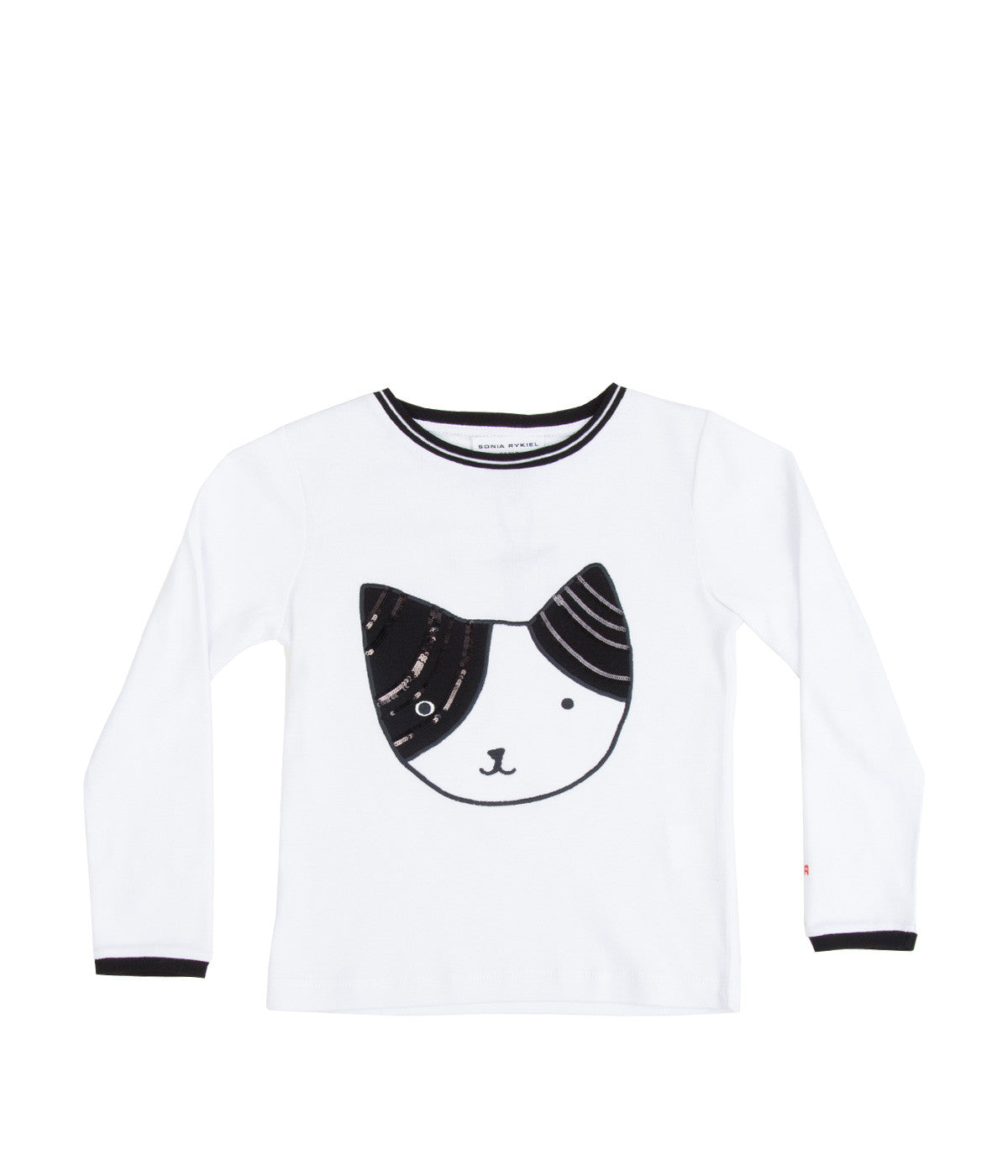 Embroidered Cat Long Sleeve T-Shirt