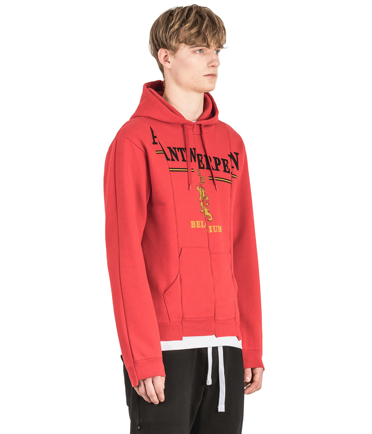 Red Fitted Cut Up Hoodie