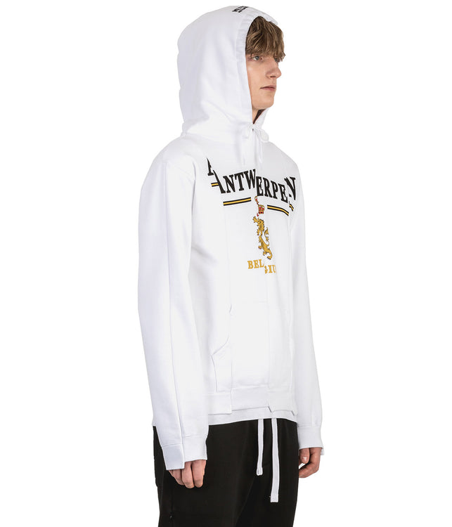 White Fitted Cut Up Hoodie