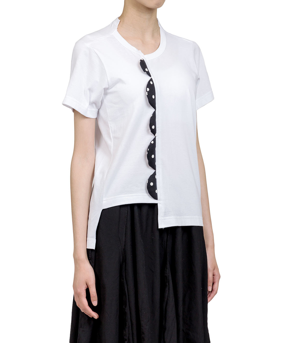 White Off-Centered Padded Detail T-shirt