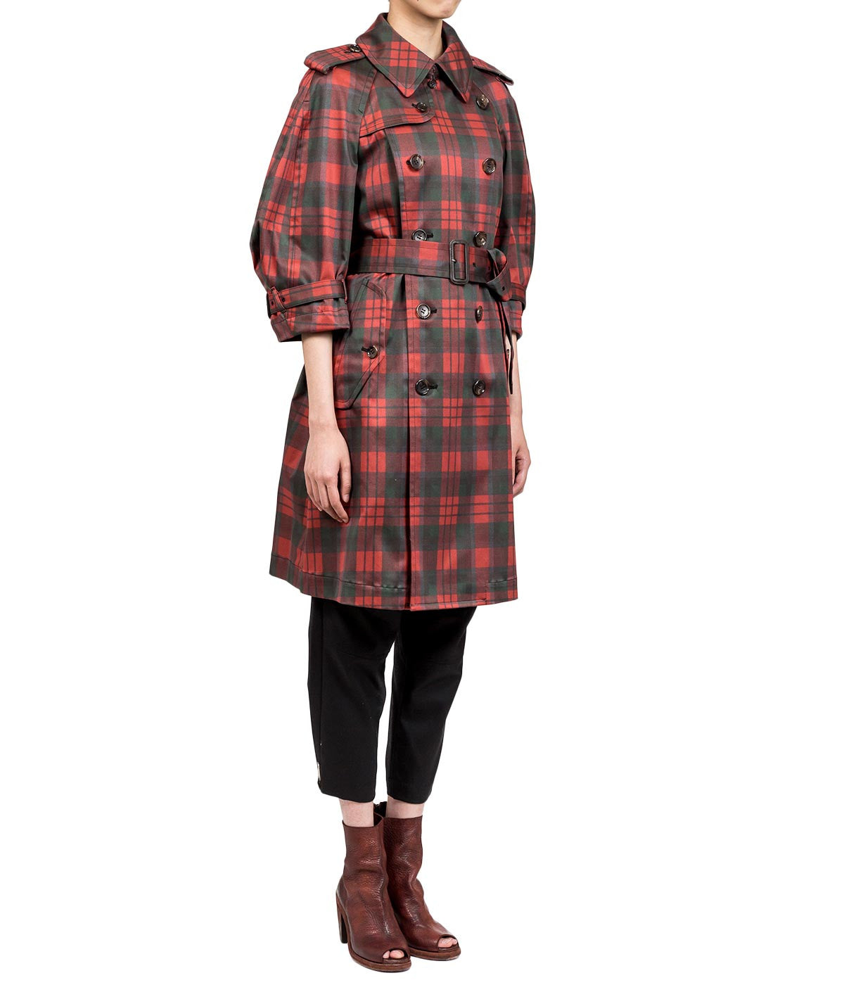 Black & Red Checked Trench Coat