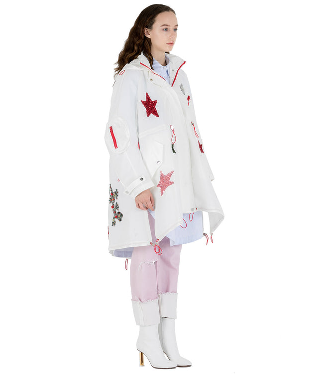 White Decorated Windbreaker Coat