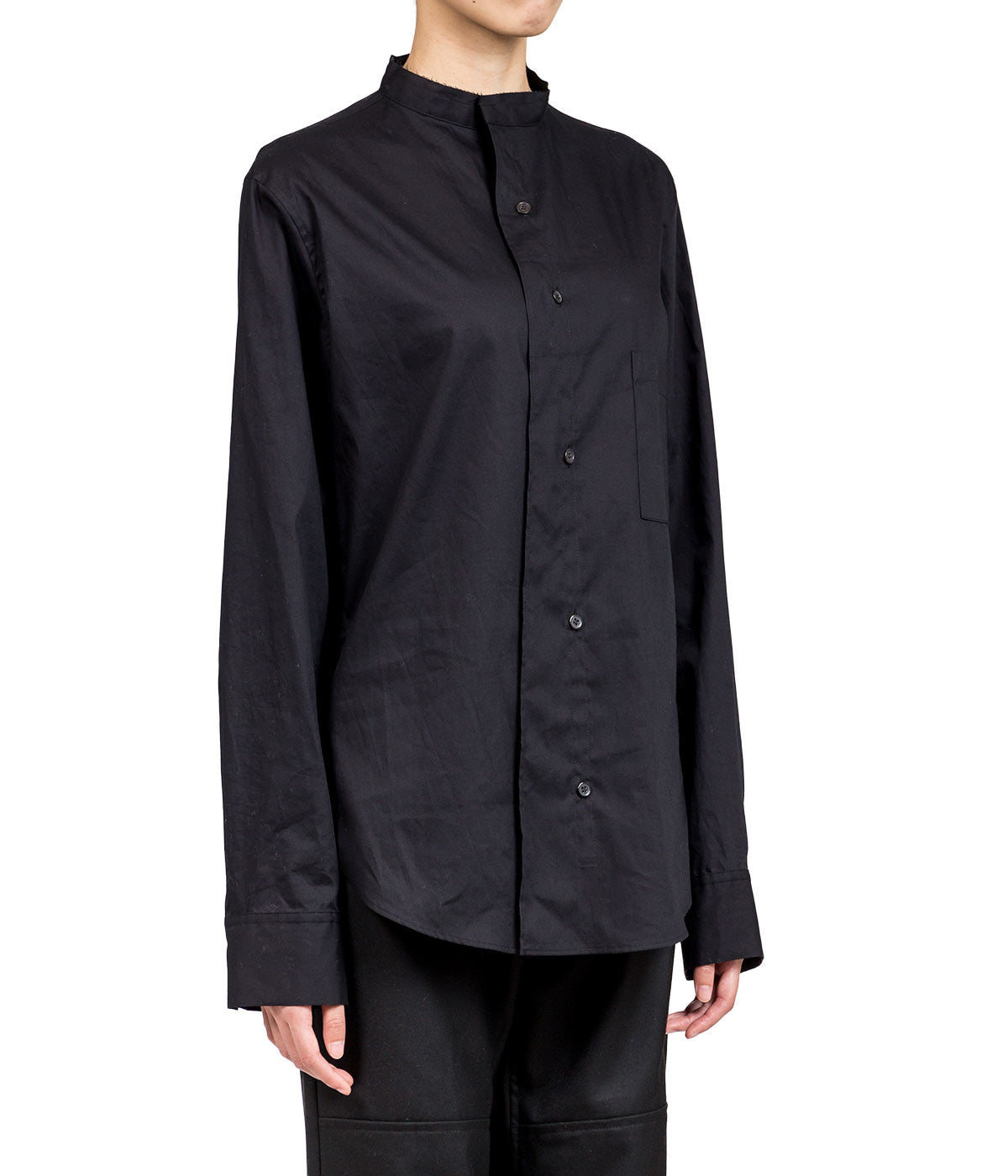 Black No Collar Shirt