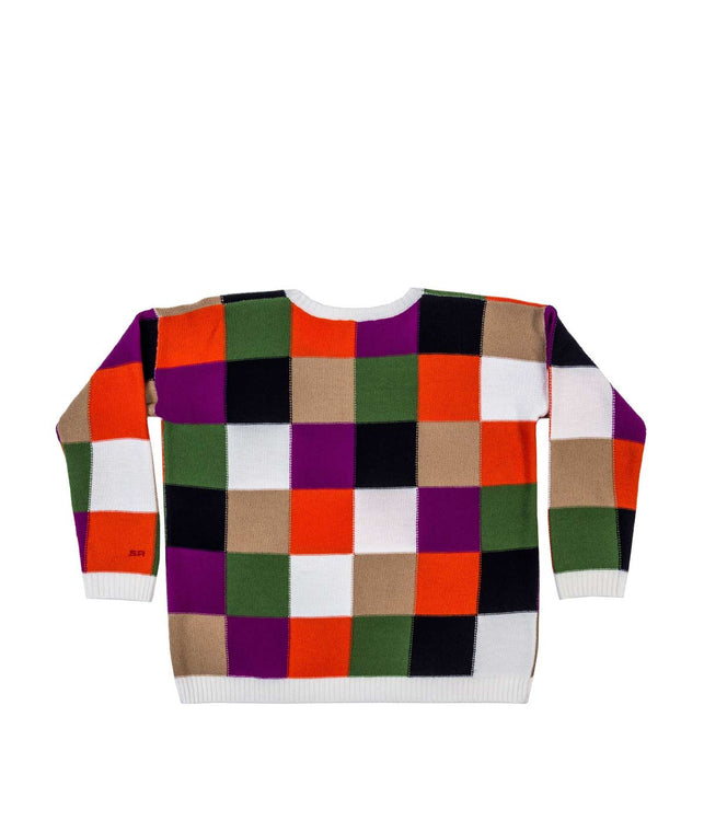 Multicolored Checkered Oversized Sweater