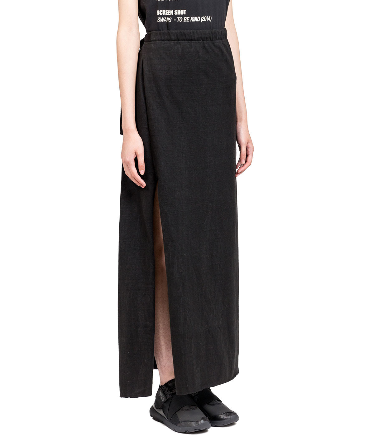 Black Grain Jersey Skirt