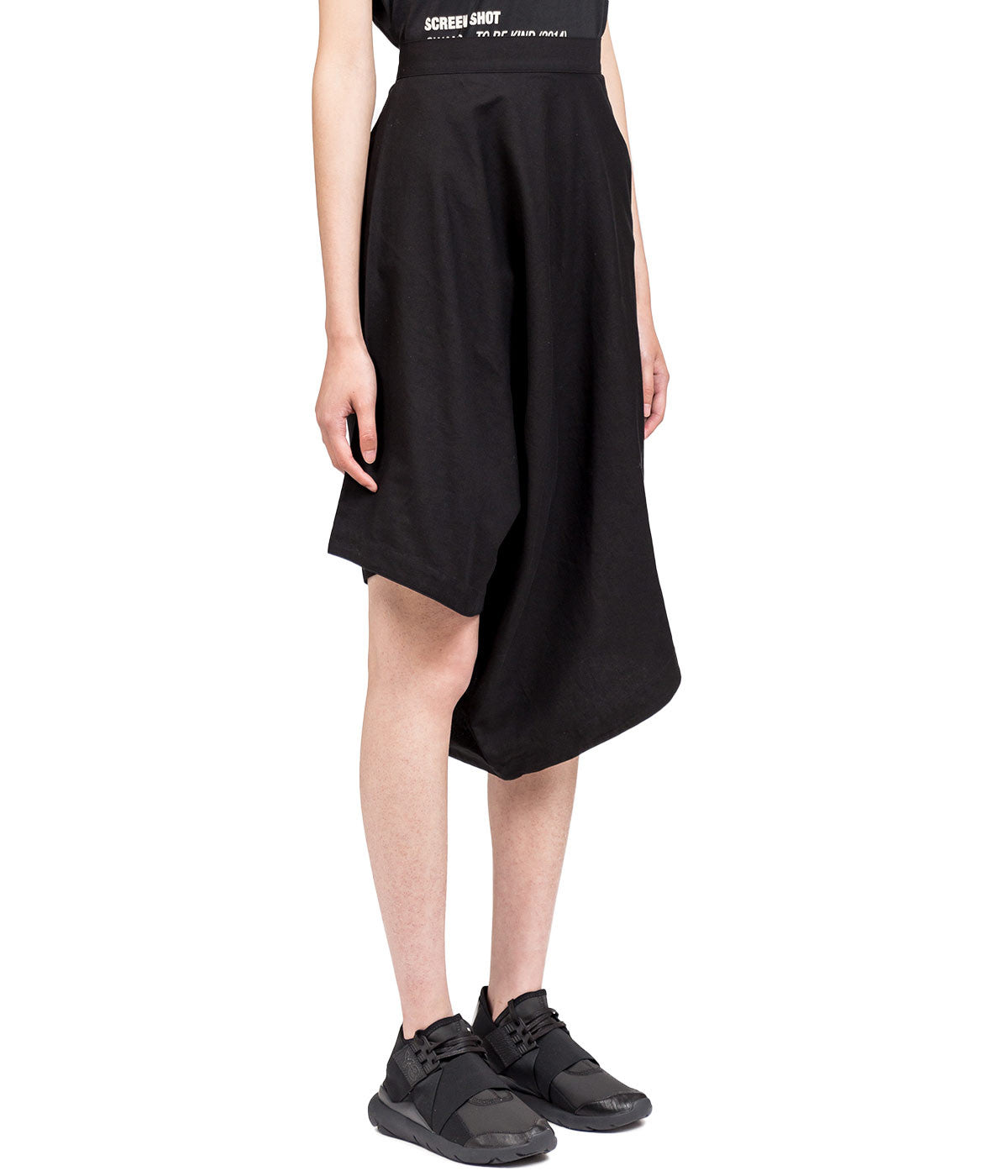 Black Cotton Twill Skorts