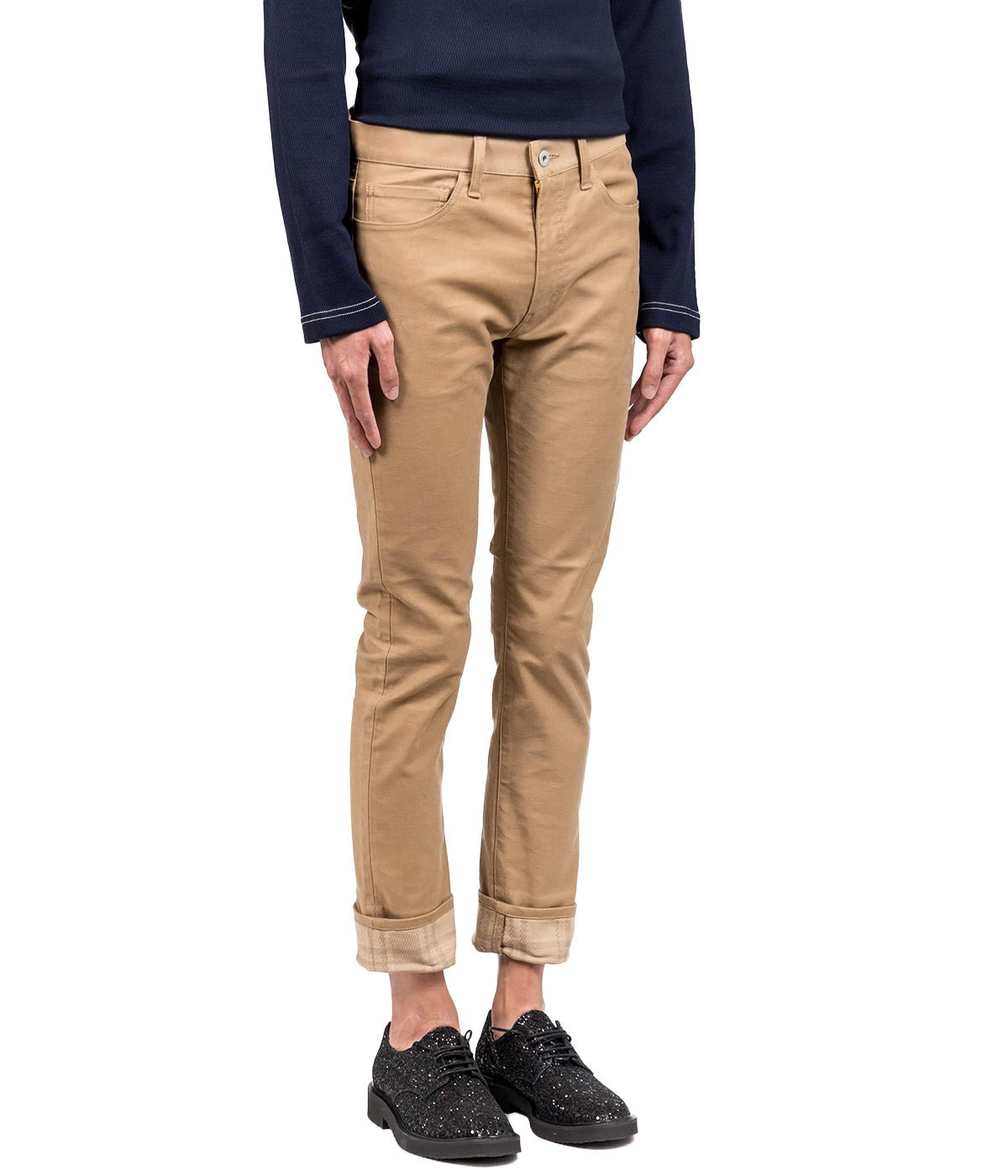Biege Cropped Casual Pants