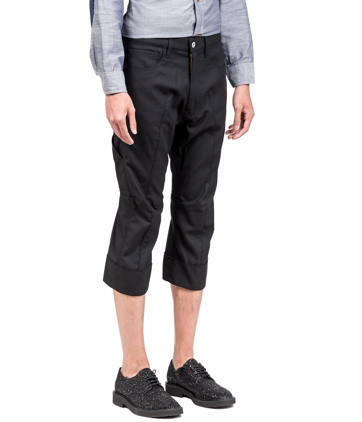 Black Drop Crotch Twill Trousers