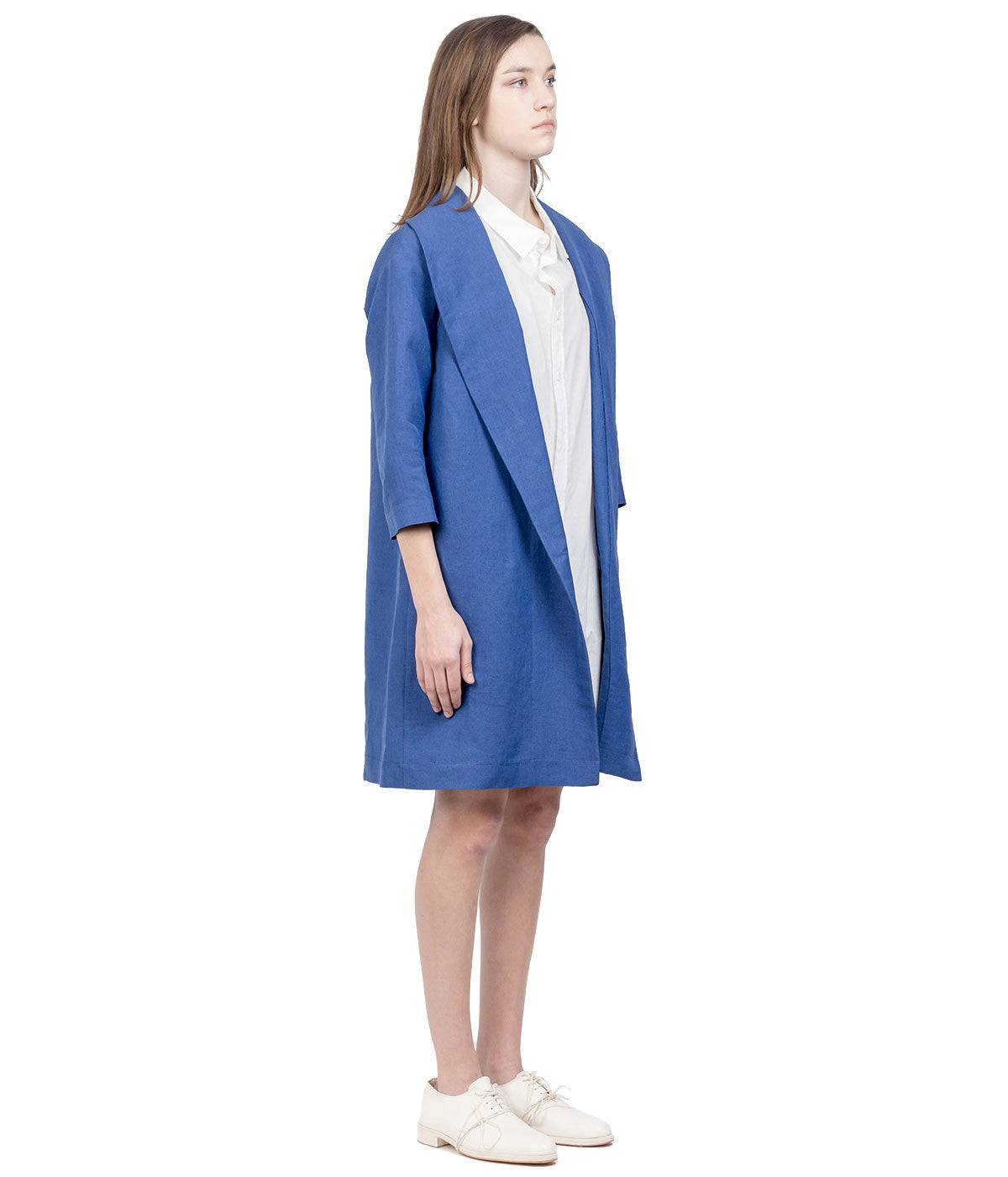 Blue Wide Shawl Collar Coat