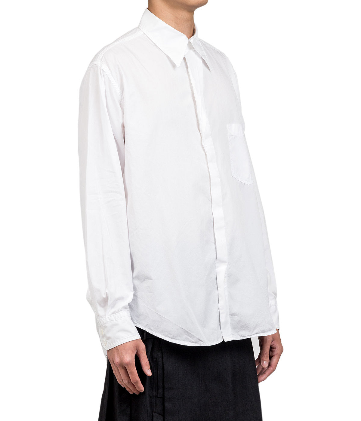 White Pleated Chain Stitch Shirt