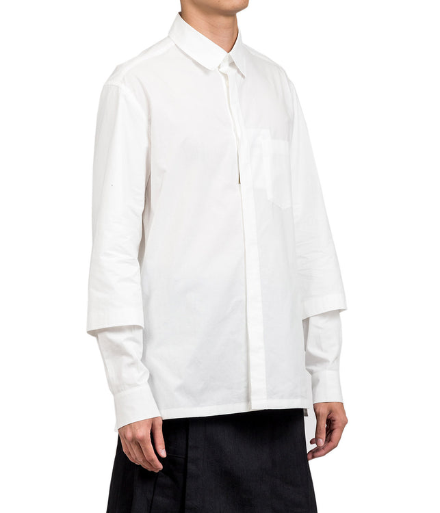 White Layered Sleeve Shirt