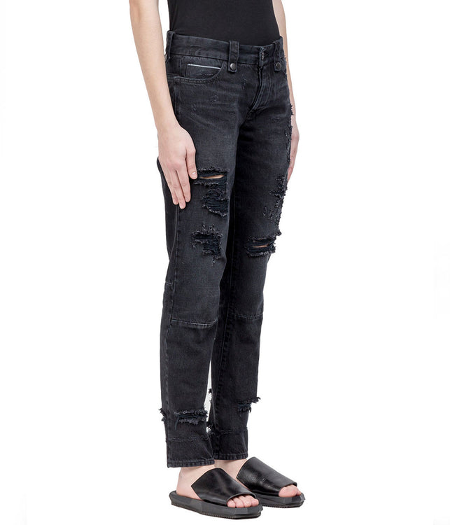 Black Distressed Skinny Denim Jean