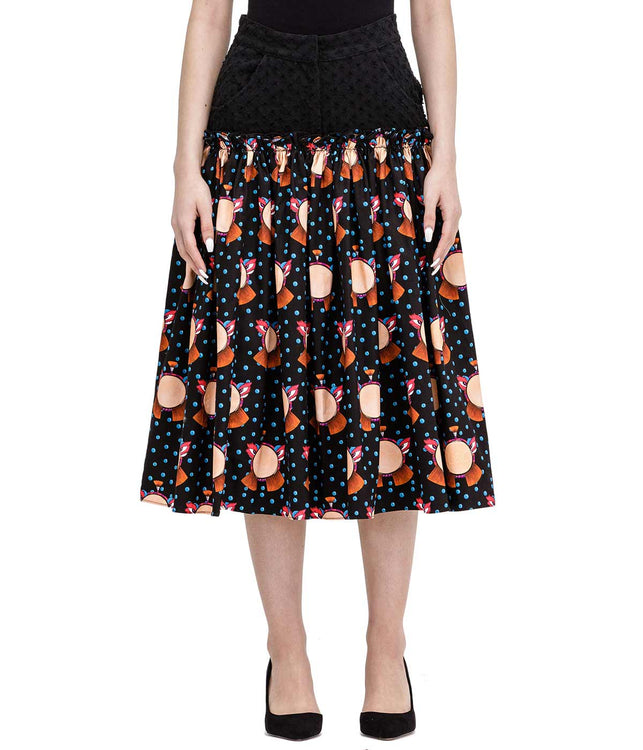 Black Graphic Printed Denim Skirt