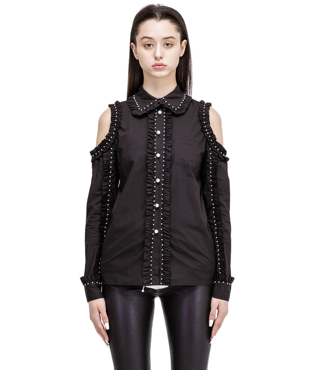 Black Ruffled Pearl Shirt
