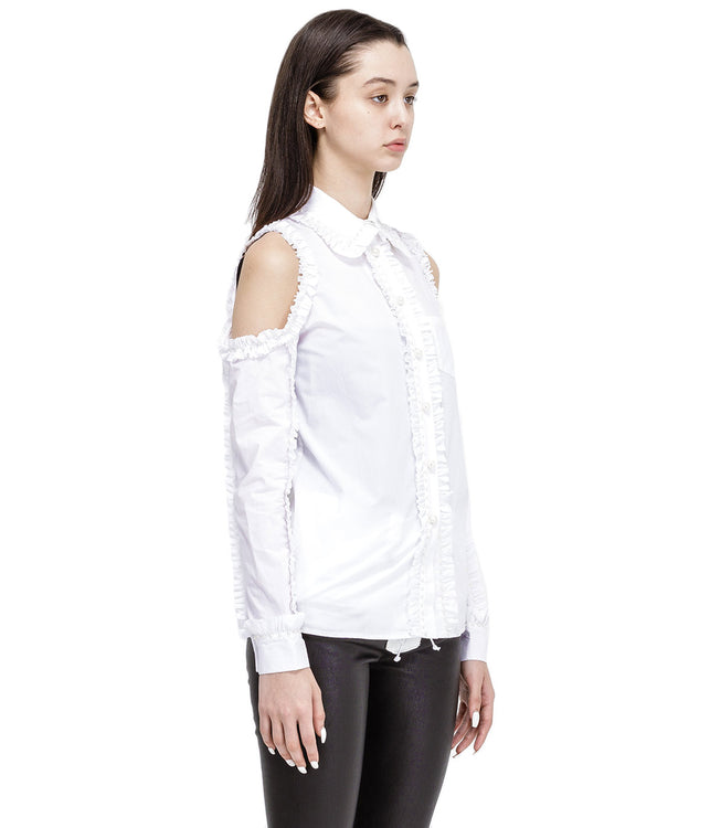 White Ruffled Pearl Shirt