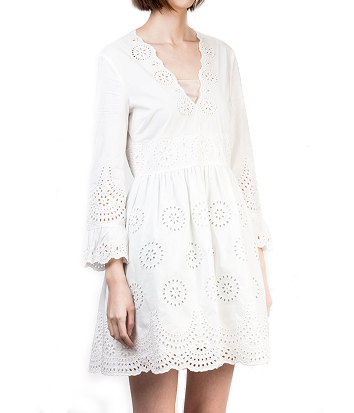 Sangallo Embroidered Poplin Dress