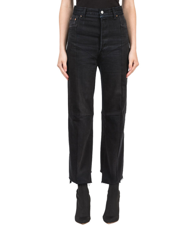 Black Reworked Biker Jeans