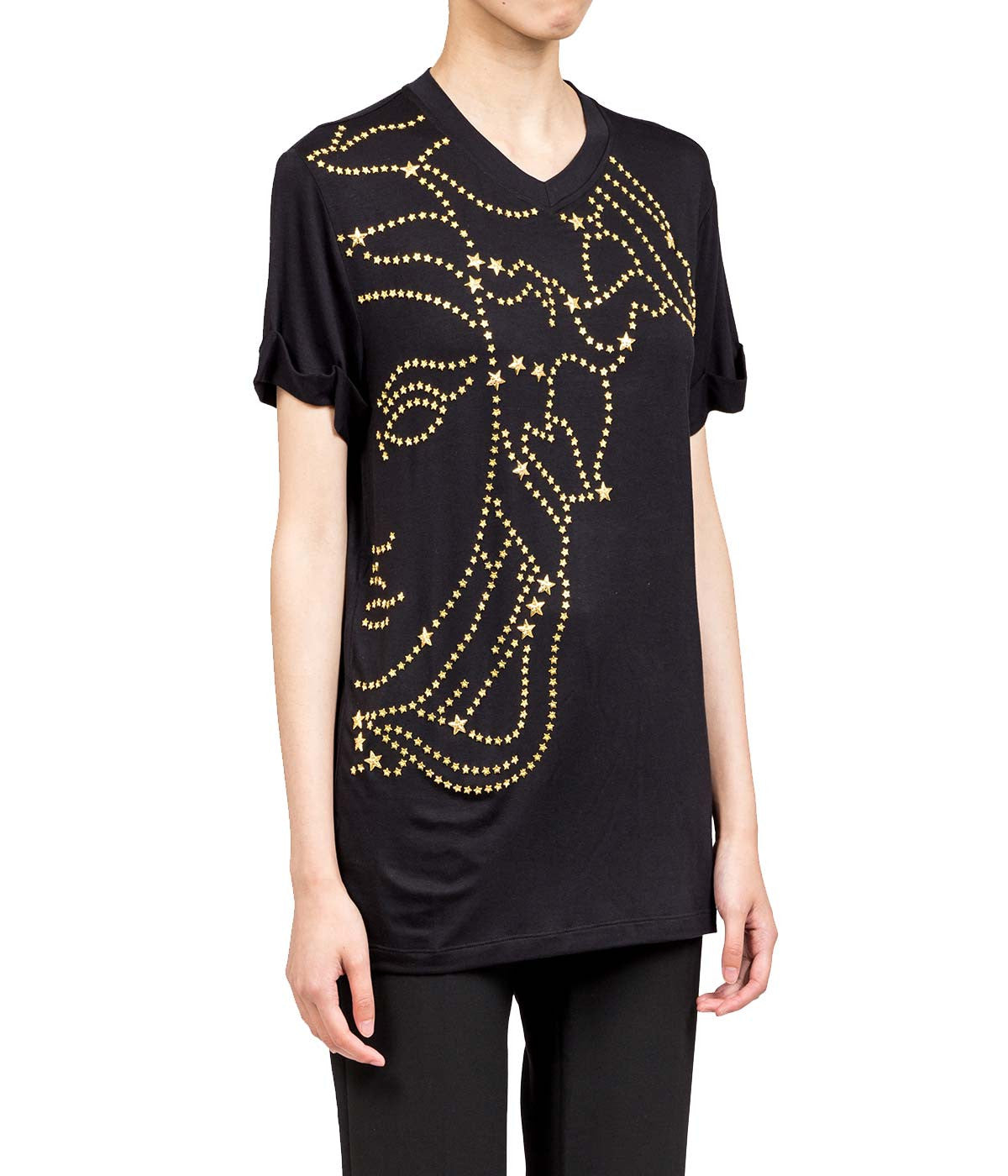 Black Embellished Star T-shirt