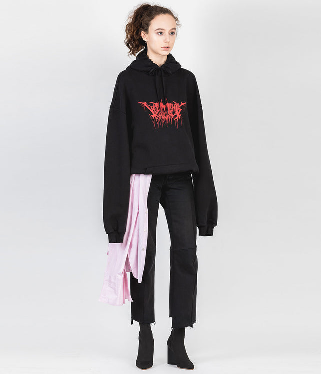 Black Oversized Graphic Hoodie