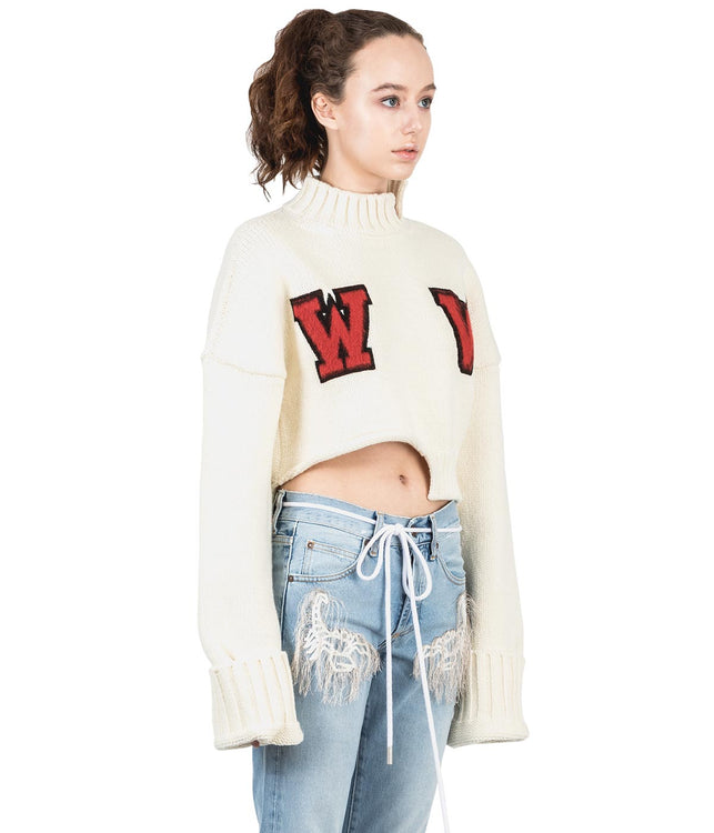 White Oversized Cropped Sweater