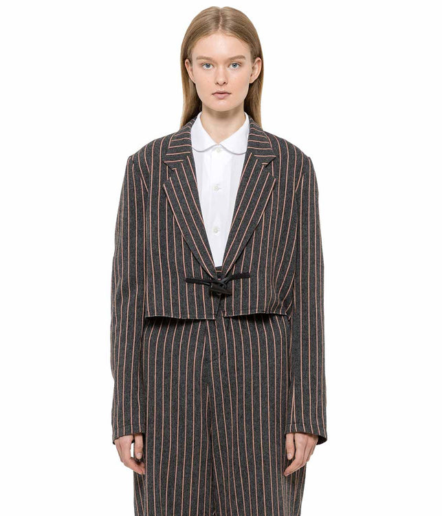 Grey Striped Toggle Jacket