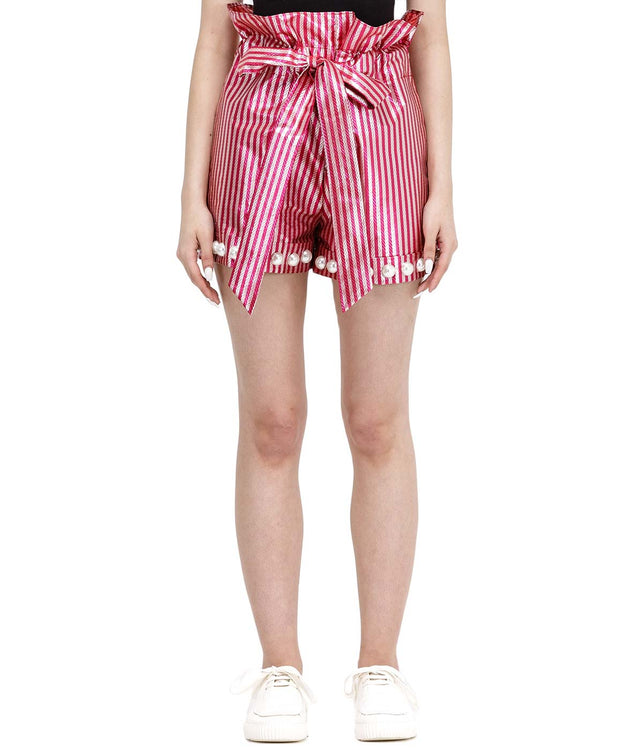 Pink Stripped Candy Wrapper Shorts