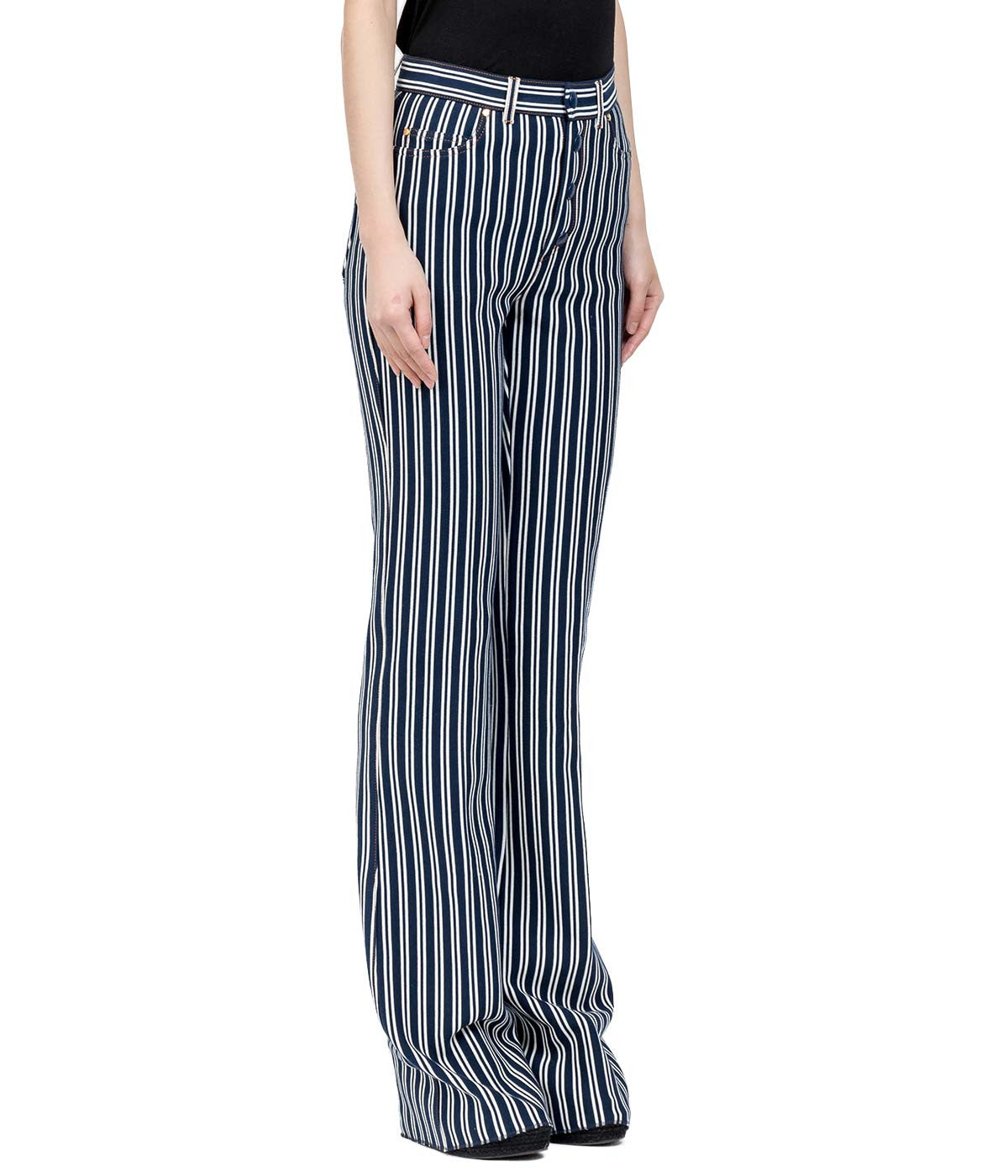 Navy Stripe Knit Pants