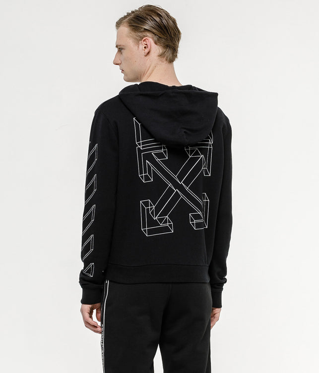 Black 3D Lines Zip-Up Hoodie