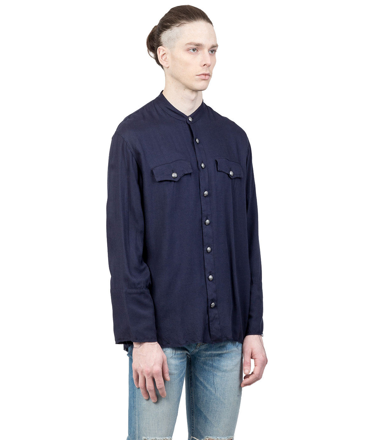 Navy Stand Collar Shirt