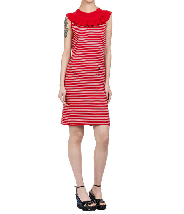 Red Sleeveless Striped Dress
