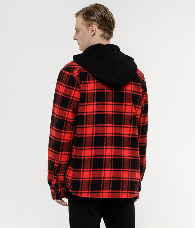 Red & Black Padded Hooded Shirt