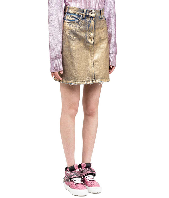 Gold Metallic Denim Mini Skirt