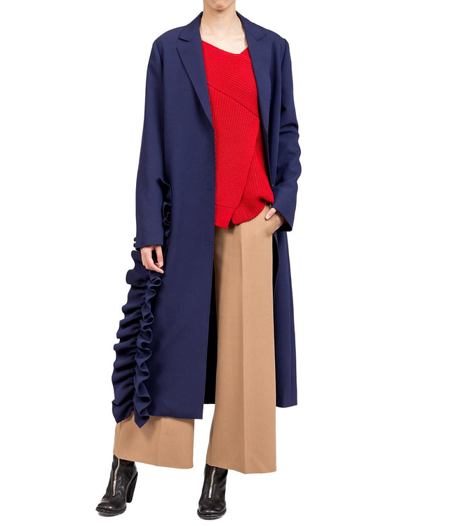 Navy Ruffle Detail Long Coat