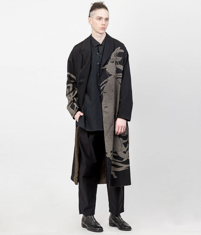 Black Reversible Calligraphy Coat