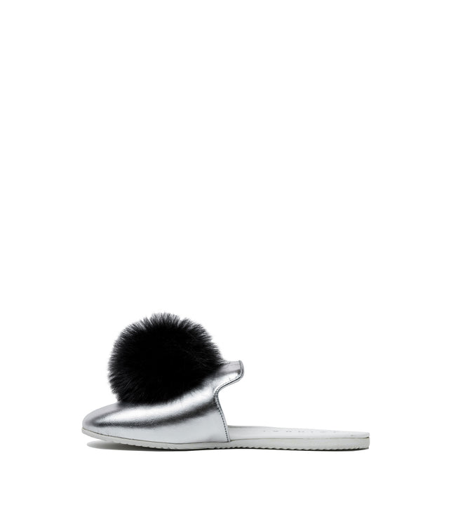 Metallic Silver Pom Pom Sandals
