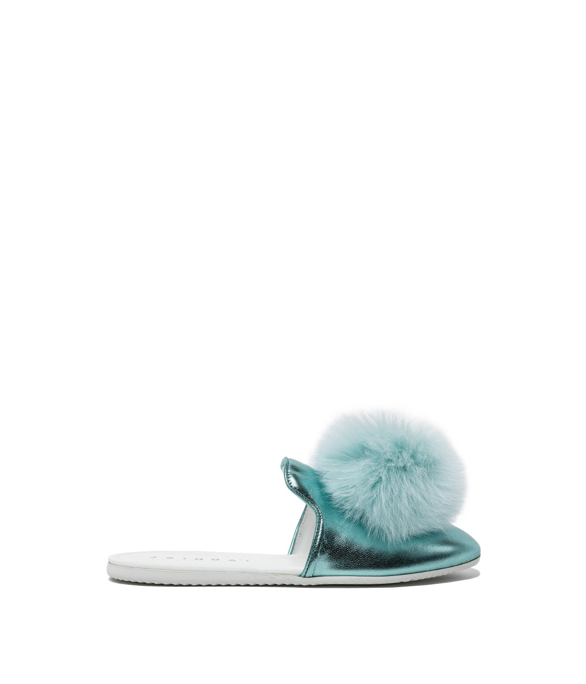 Metallic Blue Pom Pom Sandals