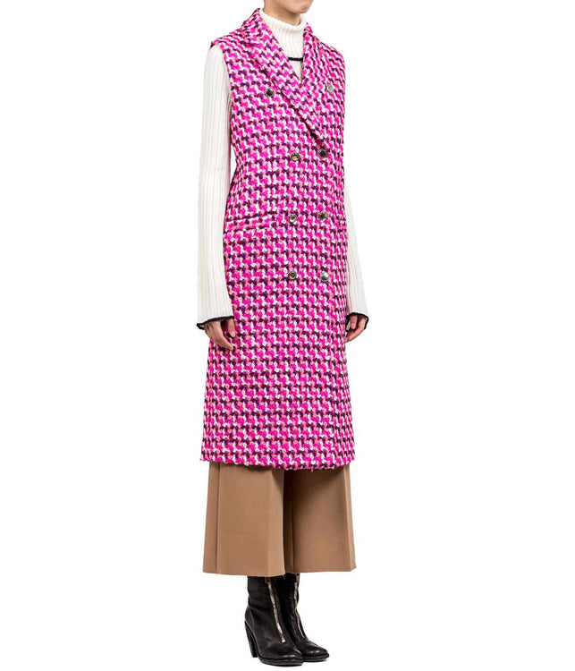 Pink Tweed Sleeveless Coat