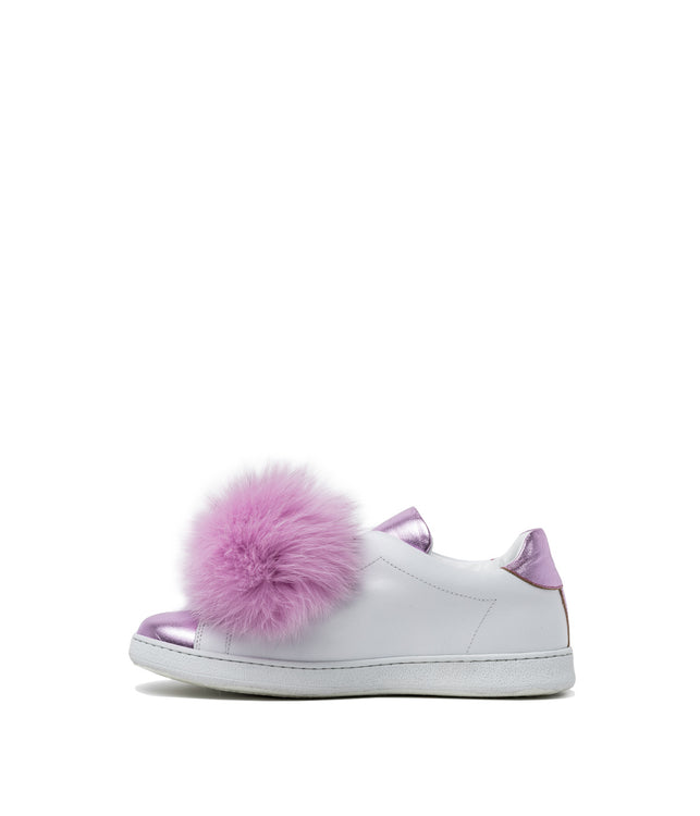 White Metallic Rose Pom Pom Sneakers