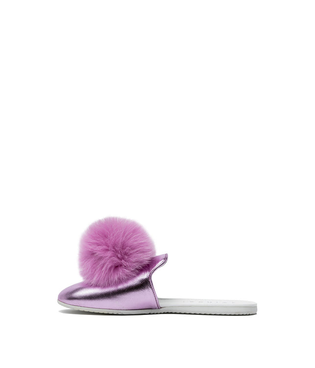 Metallic Rose Pom Pom Sandals