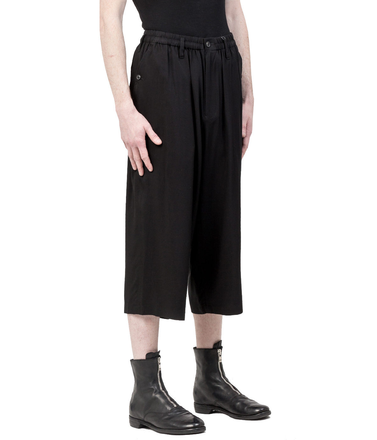 Black Gathered Waist Pants