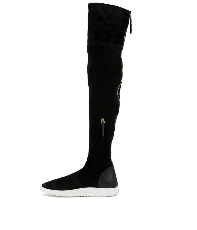 Black Suede Thigh High Sock Boots